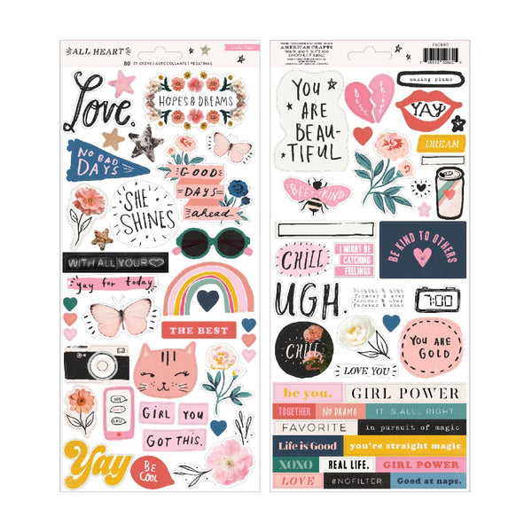 Crate Paper - All Heart - Cardstock Stickers