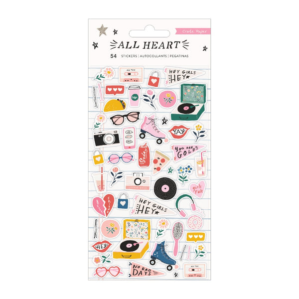 Crate Paper - All Heart - Puffy Stickers