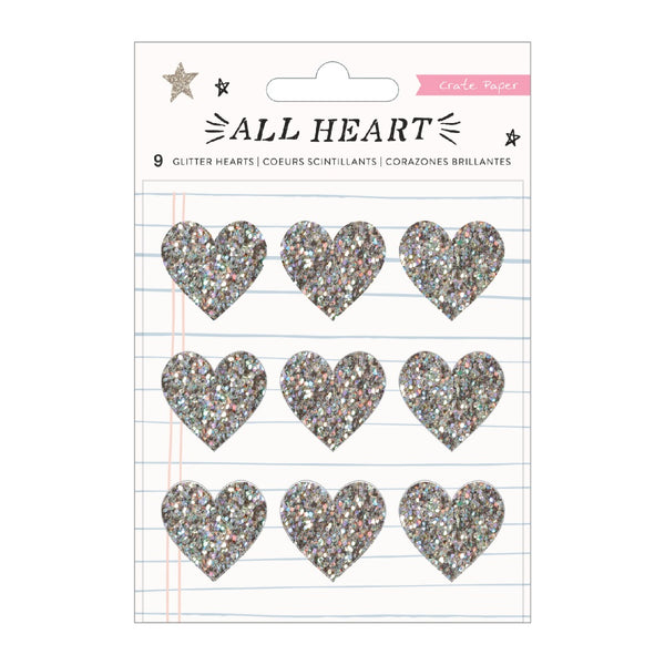 Crate Paper - All Heart - Glitter Hearts