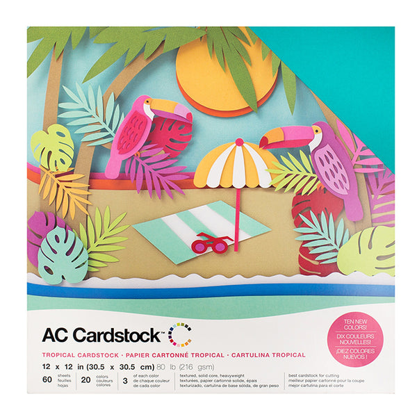 American Crafts - Tropical Cardstock Pack - 60 sheets