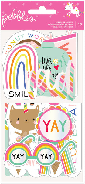 Pebbles - Live Life Happy - Phrase Ephemera Pack