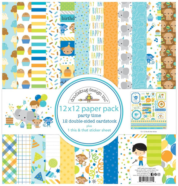 Doodlebug Design - Party Time - 12 x 12 Paper Pack