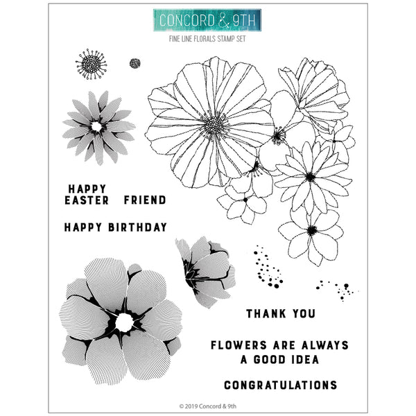 Concord & 9th - Fine Line Florals - Clear Stamp