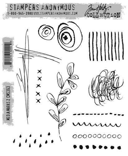 Stampers Anonymous - Tim Holtz - Media Marks 2 stamp set