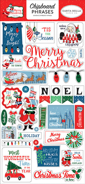 Carta Bella - Merry Christmas - Chipboard Phrases