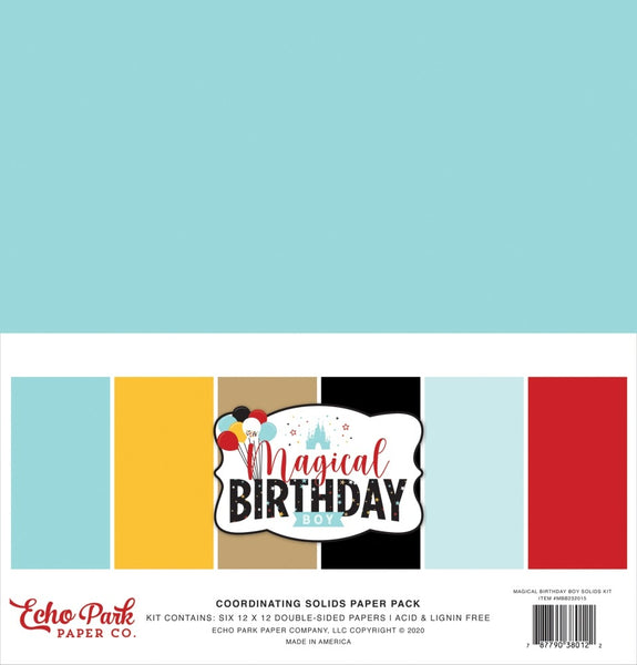 Echo Park - Magical Birthday Boy - 12 x 12 Solids Paper Pack