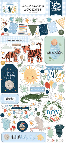 Echo Park - Welcome Baby Boy - Chipboard Accents