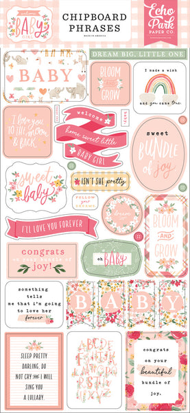 Echo Park - Welcome Baby Girl - Chipboard Phrases