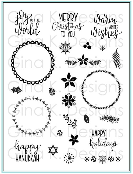 Gina K Designs - Holiday Wreath Builder Stamp Set