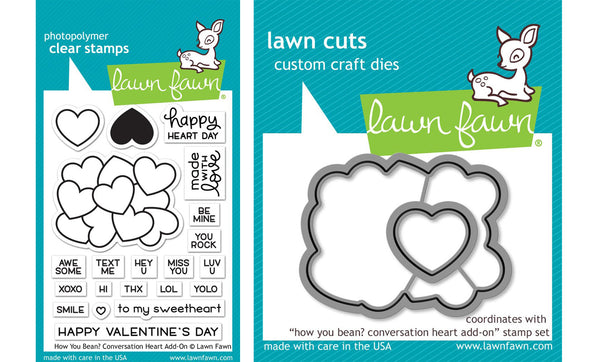 Lawn Fawn - Conversation Heart Add-On Stamp & Die bundle