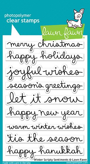 Lawn Fawn - Winter Scripty Sentiments stamp set