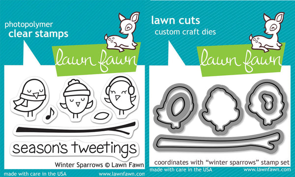 Lawn Fawn - Winter Sparrows stamp & die bundle
