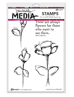 Dina Wakley Media - Always Flowers stamp set