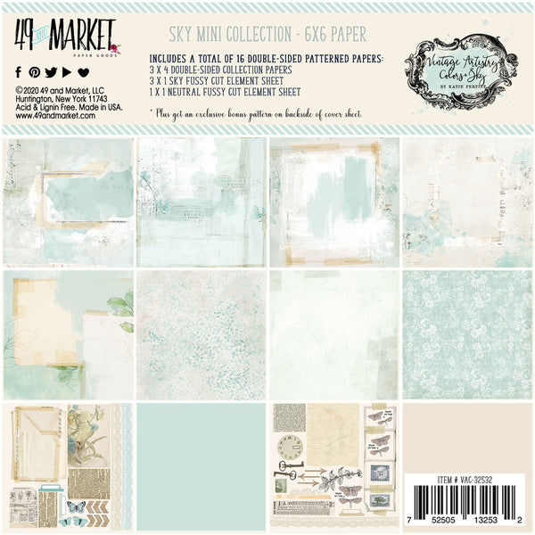 49 and Market - Vintage Artistry - Sky 6 x 6 Collection Pack