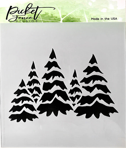 Picket Fence Studios - Field of Snowy Trees stencil