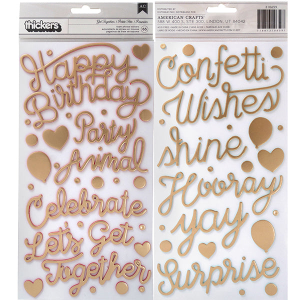 Pink Paislee - Confetti Wishes - Get Together Foam Phrase Thickers
