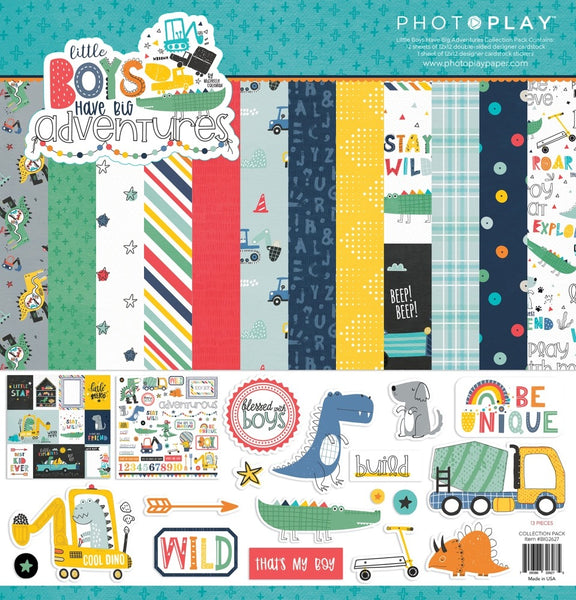 Photoplay Paper - Little Boys Have Big Adventures - 12 x 12 Collection Kit