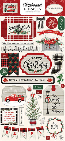 Carta Bella - Christmas Market - Chipboard Phrases