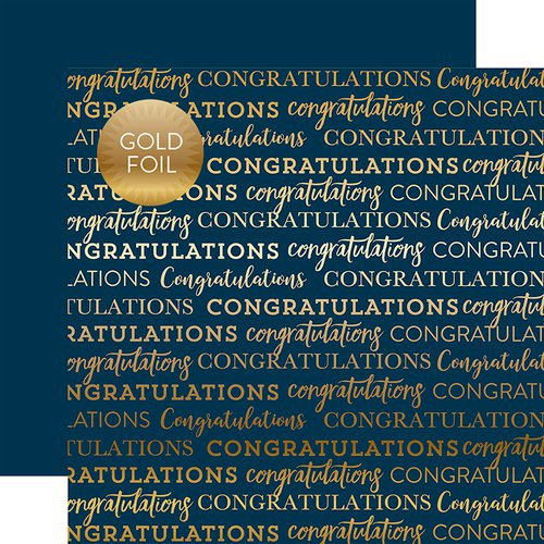 Carta Bella - Congratulations - Gold Foiled cardstock NAVY