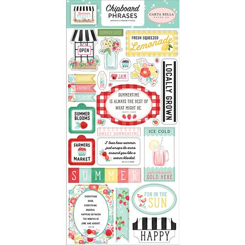 Carta Bella - Summer Market - Chipboard Stickers Phrases