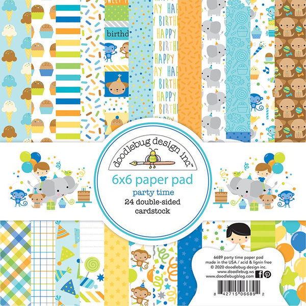 Doodlebug Design - Party Time - 6 x 6 paper pad