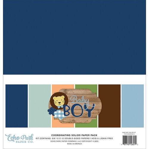 Echo Park - Baby Boy - 12 x 12 Solids Paper Pack