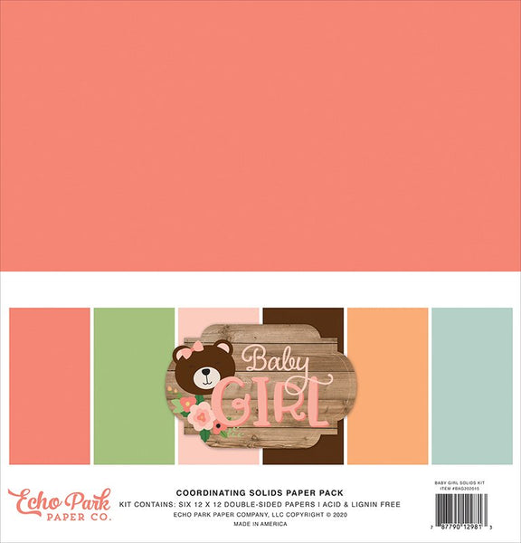 Echo Park - Baby Girl - 12 x 12 Solids Paper Pack