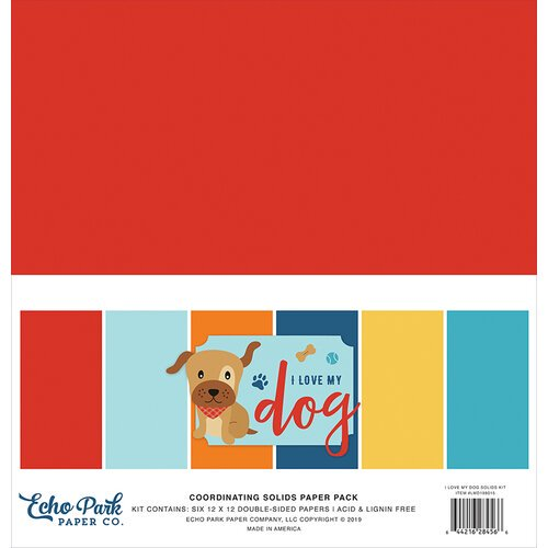 Echo Park - I Love My Dog - 12 x 12 Paper Pack - Solids