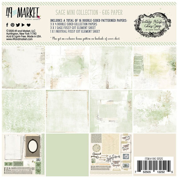 49 and Market - Vintage Artistry - Sage 6 x 6 Collection Pack