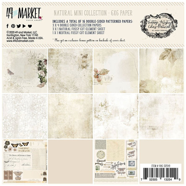 49 and Market - Vintage Artistry - Natural 6 x 6 Collection Pack
