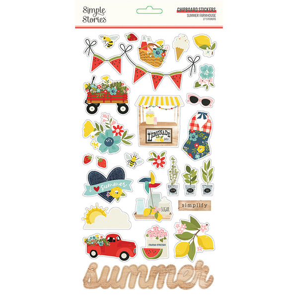 Simple Stories - Summer Farmhouse - Chipboard Stickers