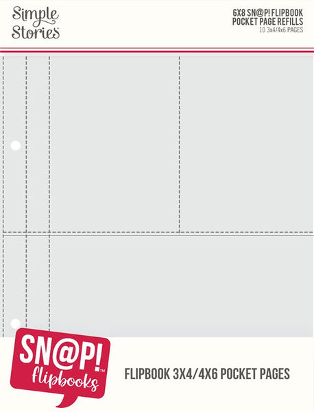 Simple Stories - 6 x 8 Pockets Refill Pack - 3 x 4 & 4 x 6 Flipbook Pages