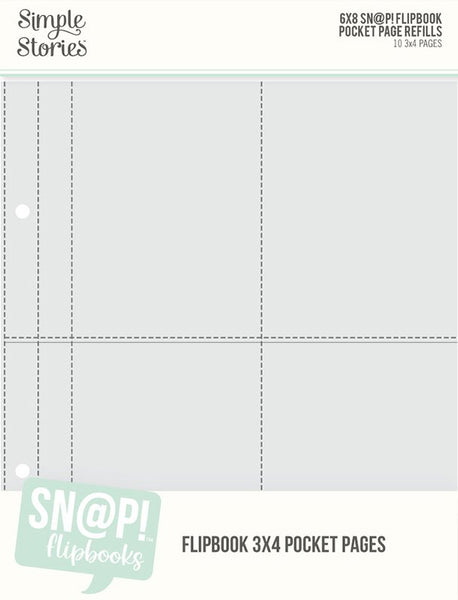 Simple Stories - 6 x 8 Pockets Refill Pack - 3 x 4 Flipbook Pages