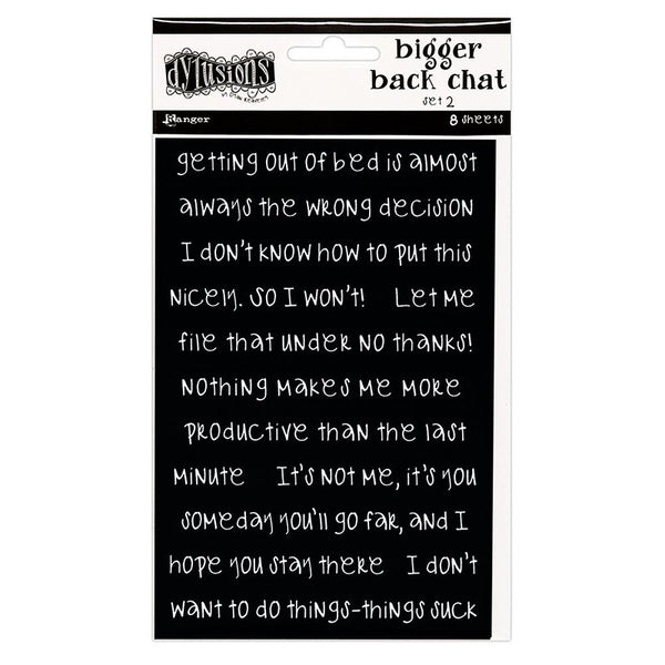 Dylusions - Black - Bigger Back Chat Stickers - Set 2