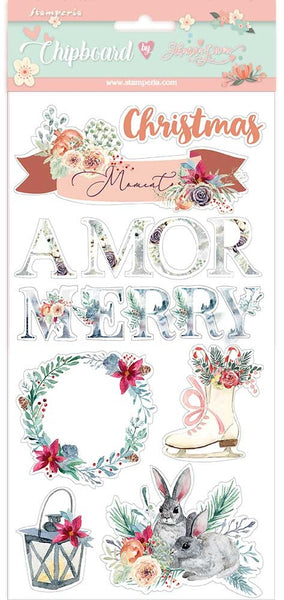 Stamperia - Gratitud - Amor Merry Christmas Chipboard