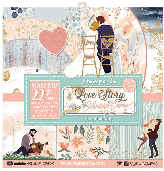 Stamperia - Love Story - 12 x 12 Maxi Paper pack
