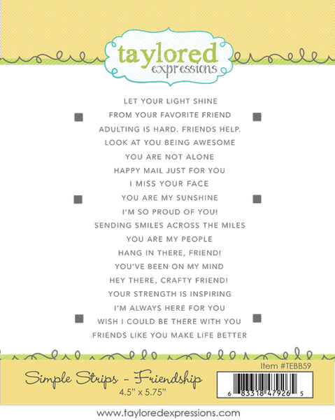 Taylored Expressions - Simple Strips - Friendship Stamp Set