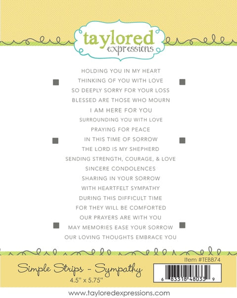 Taylored Expressions - Simple Strips - Sympathy Stamp Set