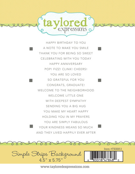 Taylored Expressions - Simple Strips - Background Stamp Set