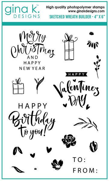 Gina K Designs - Sketched Wreath Builder Stamp Set
