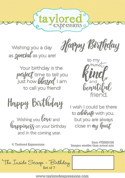 Taylored Expressions - The Inside Scoop - Birthday Stamp Set