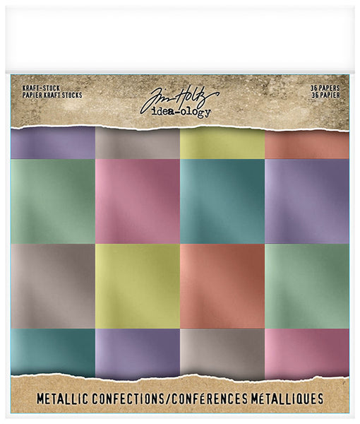 Tim Holtz - Kraft Stock - Metallic Confections 8x8 paper pad