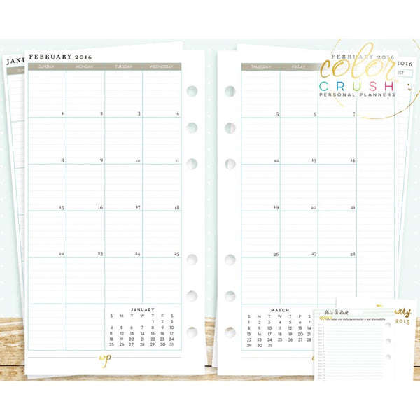 Webster's Pages - Colour Crush - Planner refill - 2016 Monthly view calendar A2 size