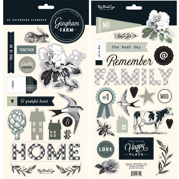 My Mind's Eye - Gingham Farm - Chipboard Elements
