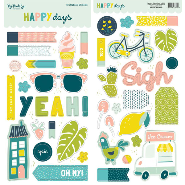 My Mind's Eye - Happy Days - Chipboard Elements