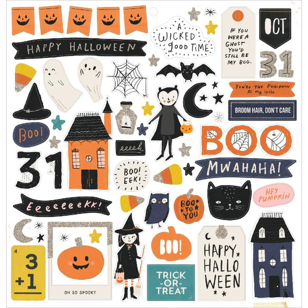 Crate Paper - Hey Pumpkin - 12 x 12 Chipboard Stickers
