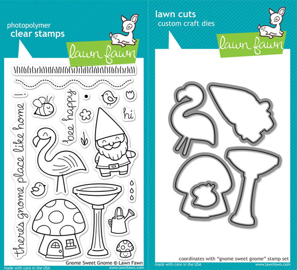 Lawn Fawn - Gnome Sweet Gnome stamp & die bundle