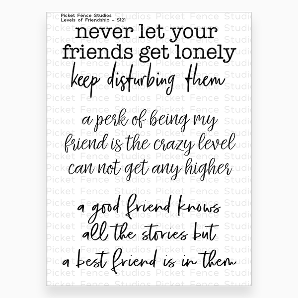 Picket Fence Studio - Levels of Friendship Stamp Set