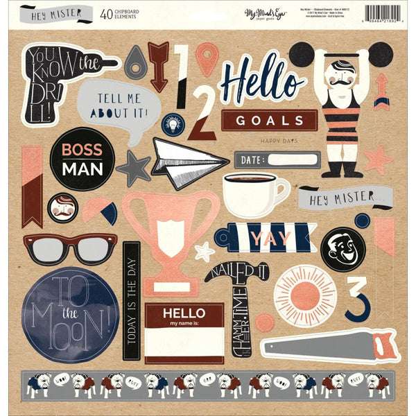 My Mind's Eye - Hey Mister - 12x12 Chipboard Stickers