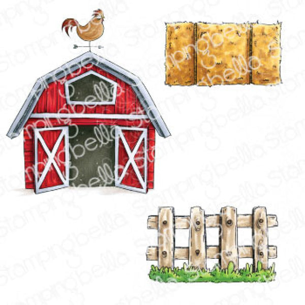 Stamping Bella - Oddball - Barn Hay and Fence Stamp Set